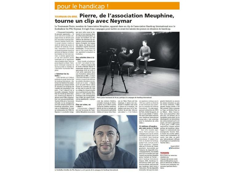"""Pierre de l'association Meuphine """"tourne"""" un clip avec Neymar"""